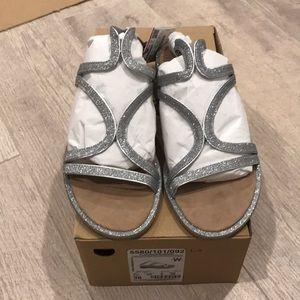 Zara flats sandal in sparkles silver size 7,5. New